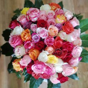Bouquet rosas color variado 60 unidades