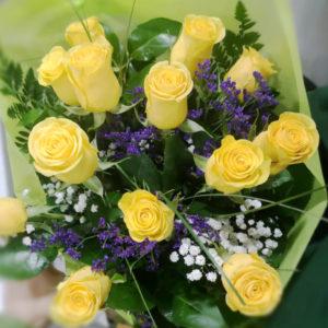Ramo de rosas amarillas 12 unidades